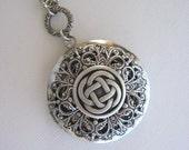 Celtic Knot Necklace, Celtic Knot Locket, Irish Jewelry, Celtic Jewelry, Silver Locket Necklace, Filigree Locket, Antique Locket