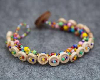 Beaded Button Bracelet / Bright Colorful Rainbow Jewelry / Fun Simple Wooden Button Detail by randomcreative on Etsy