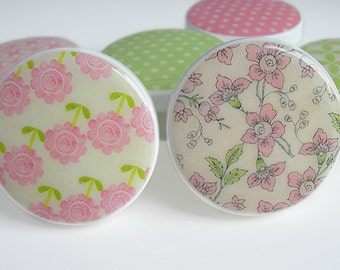Pretty Pink and Green Floral Print Knobs, Pink and Green Polka Dot Drawer Knobs, Girl's Flower Knobs- Wood Knobs- 1 1/2 Inches