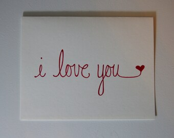 I Love You Heart Original Hand Drawn Note Card, Red and White, Handmade, Valentine, Anniversary, True Love, Engagement, Deep Red Heart