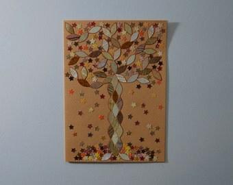 Falling Stars Autumn Tree Note Card, Original Handmade, Hand Cut Vintage Wallpaper, OOAK, Fall Greeting, Orange Red Gold Leaves, Harvest
