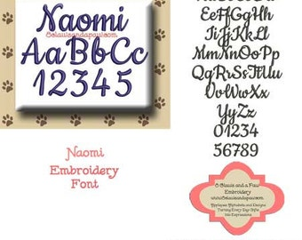 Naomi Embroidery Font Includes 8 Sizes