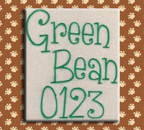 Green Bean Embroidery Font in 4 Sizes-Machine Embroidery