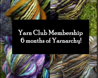 Handspun Yarn Club, 6 month Subscription, instant gift last minute gift, free shipping knitting crochet