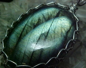 Blue, Green, Gold Labradorite Sterling Silver Wire Art Pendant 006