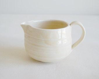 Porcelain Creamer - Light Yellow Creamer - Small Ceramic Pitcher - Handmade Pottery Creamer
