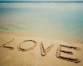 LOVE Beach Sand Writing Fine Art Print