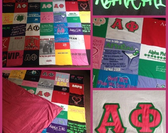 Sorority Memory Blanket College Memories kept Forever in a Keepsake - Custom