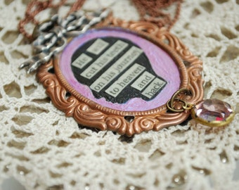 Brass Mixed Media Silhouette Pendant Necklace