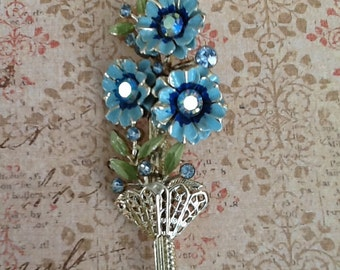 Vintage Blue enamel and Aurora Borealis Blossom Flower Brooch cottage or shabby chic jewelry