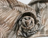 Hand Painted Silk Scarf - Handpainted Scarves Brown Black Gray Grey Charcoal Ferns Leaves Neutral