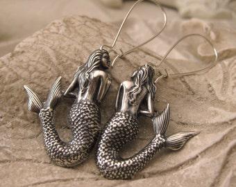 Vintage Silver MERMAID EARRINGS