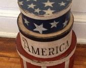 USA Set of Paper Mache Boxes