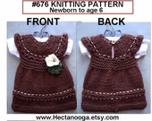 Girls clothing - DRESS - Knitting PATTERN - newborn to 6 years - Easy beginner level flat knit, #676  baby dress - flower and leaf included