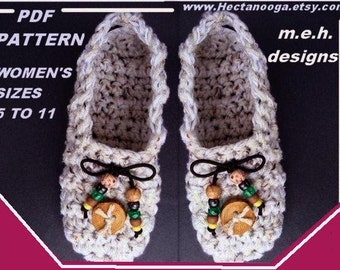 CROCHET PATTERN SLIPPERS num 244  make it yourself...Moccasin Style Slippers, all sizes from age 2 to adult men...