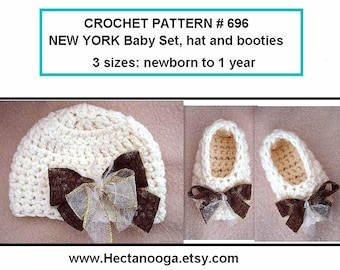 BABY HAT and Booties - Crochet PATTERN -  New York Baby Set - Ages newborn to 1 year, pdf # 696