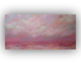 Original Abstract Landscape- Purple and White Storm Clouds and Sky Oil Painting- Large 24 x 48 Palette Knife Art on Canvas