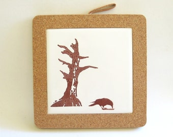 Crow and Old Dead Tree Coaster - Home Decor Hostess Gift - Woodland Raven Tile