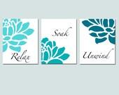 Floral Bathroom Art - Set of Three 8x10 Prints - Relax, Soak, Unwind - Flowers - Petals - Bathtub - Spa - CHOOSE YOUR COLORS