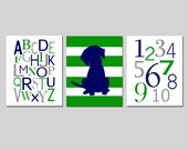 Puppy Dog Nursery Art Trio - Alphabet, Numbers, Striped Puppy Dog - Set of Three 8x10 Prints - CHOOSE YOUR COLORS