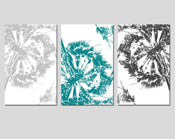 Abstract Dandelion Trio - Set of Three 13x19 Coordinating Modern Floral Prints - CHOOSE YOUR COLORS - Shown in Teal, Gray, Yellow, and More