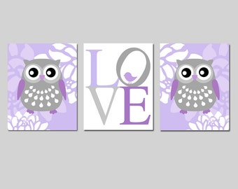 Floral Owl Baby Bird Love Nursery Art Trio - Set of Three 8x10 Prints - CHOOSE YOUR COLORS - Shown in Shades of Purple and Gray