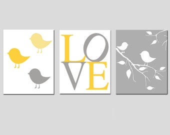 Baby Bird Love Nursery Art Trio - Set of Three 8x10 Prints - CHOOSE YOUR COLORS - Shown in Yellow, Gray, Pink, Purple, and More
