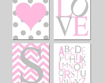 Baby Girl Nursery Art - Polka Dot Heart, LOVE, Chevron Initial, Alphabet - Set of Four 11x14 Prints - Choose Your Colors