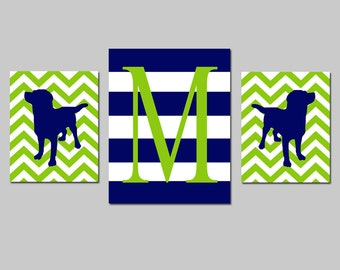 Boy Nursery Art - Striped Chevron Initial Puppy Dog Trio - Set of Three Prints - 8x10 and 11x14 - Initial - CHOOSE YOUR COLORS