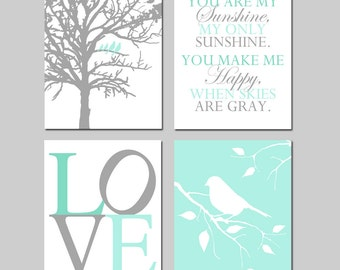 Mint Green Nursery Art - Set of Four 8x10 Prints - Birds in a Tree, You Are My Sunshine, LOVE, Bird on a Branch - Choose Your Colors