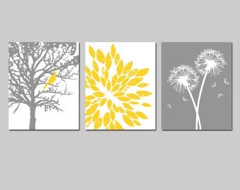 Yellow Gray Grey Bird Tree Nature Floral Nursery Art Trio - Bird in Tree, Abstract, Dandelions - Set Three 8x10 Prints - CHOOSE YOUR COLORS