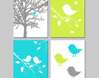 Baby Boy Nursery Art Quad - Baby Birds in Tree - Set of Four 8x10 Prints - Kids Wall Art - CHOOSE YOUR COLORS