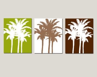 Palm Medley Tropical Art - Set of Three 11x14 Palm Tree Prints - CHOOSE YOUR COLORS - Shown in Olive Green, Brown, Red Orange and More