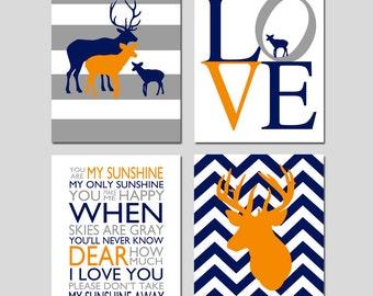 Nursery Decor Deer Set of 4 Prints - Chevron Deer, Deer Family, You Are My Sunshine, Love - 11x14 - CHOOSE YOUR COLORS