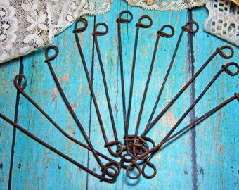 Vintage METAL Wires with loops (12) Rusted Mixed Media Supply- Altered Art Assemblage Part- Rusty Metal Wire