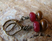 Ruby Red Gemstone, Brown Lampwork Antique Brass Earrings