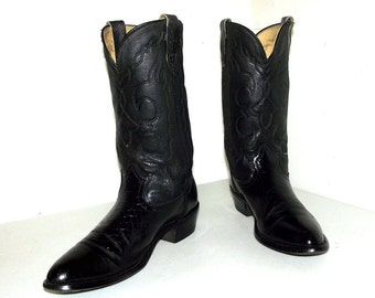 Black  on black - faux alligator - cowboy boots size 9.5 D or cowgirl size 11