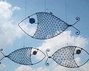 Metal  Sculpture / Three Wire Fish