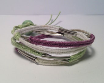 Mint green, white and lavender wrap bracelet with metal details, CHRISTMAS Stocking Stuffer