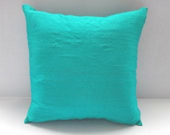 STOCK CLEARANCE 20% off- Aqua Blue dupioni  silk  pillow. rowsik throw pillow  cover 18 inch throw pillow