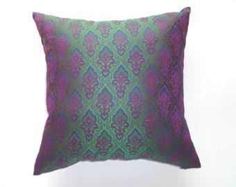 Green,Indigo & Blue Damask Brocade 18x18 Decorative Throw Pillow Covers. 2 in stock ready to ship.