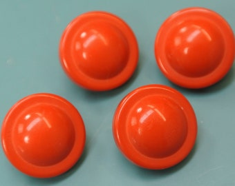 Lot of 8 small vintage 1960s unused clear red plastic buttons with backside metal loops for your sewing prodjects