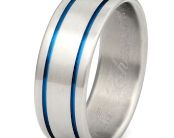 Blue Titanium Wedding Band - Thin Blue Line Ring - b5