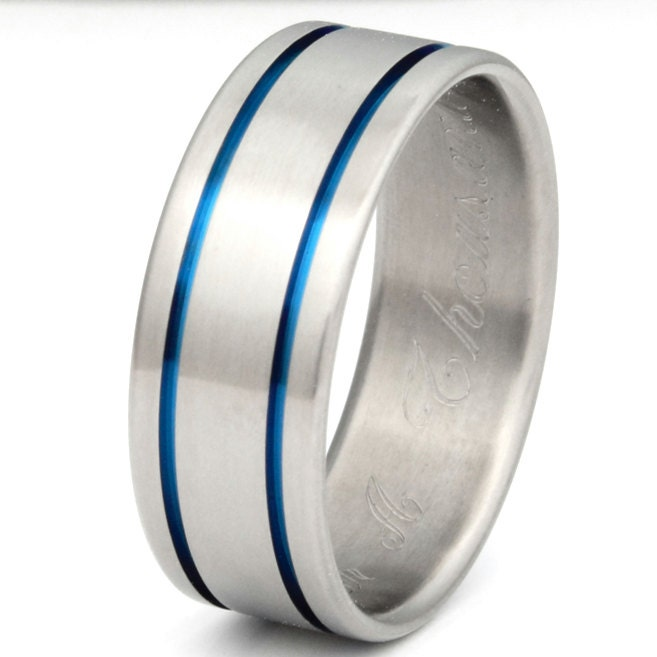 Blue Titanium Wedding Band Thin Blue Line Ring b5