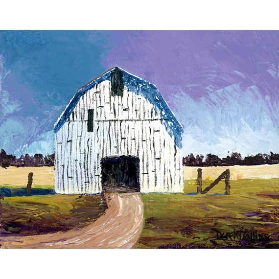 Barn painting landscape painting acrylic print country for Watercolor barn paintings