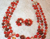 Brilliant Orange and Brown Bead Vintage Choker Necklace and Clip Earrings Set