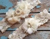IVORY  flower  / IVORY  chiffon / wedding garter set / bridal  garter/  lace garter / toss garter included /  wedding garter