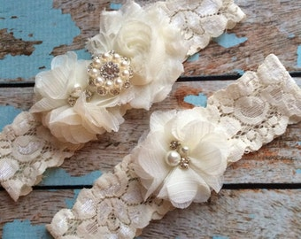 IVORY  flower  / IVORY  chiffon / wedding garter set / bridal  garter/  lace garter / toss garter included /  wedding garter