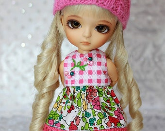 SALE - LATI Yellow PukiFee - Hello Kitty Series - Strawberry - DRESS - Pink Gingham