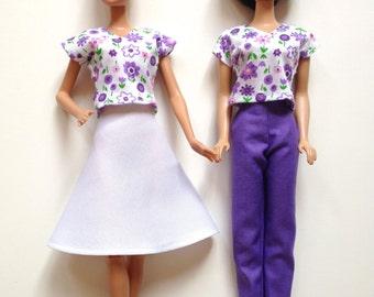 Handmade Barbie Clothes Pant Skirt Top (Q309)
